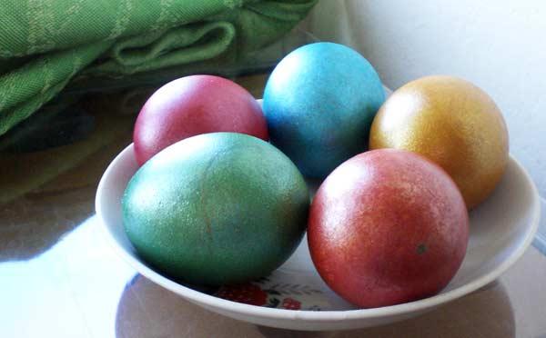 крашенные яйца, пасха